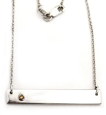Silver Bar Necklace with Diamond by Rubini Jewelers
