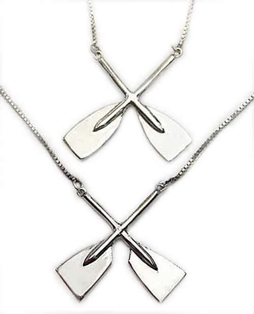 Large Crossed Oars with Box Chain Rowing Necklace by Rubini Jewelers