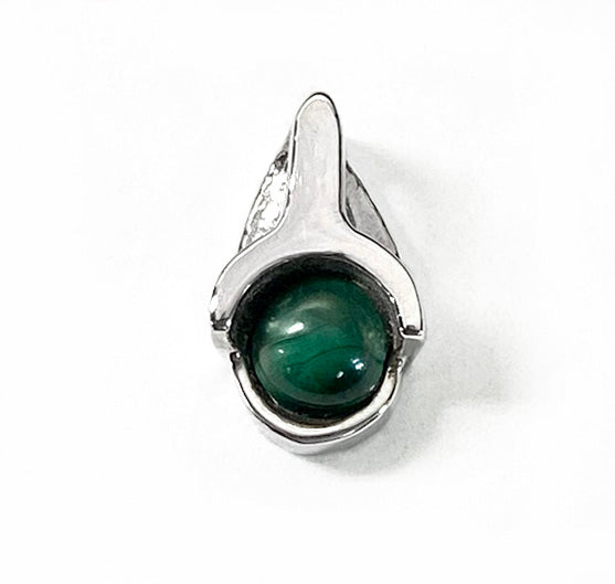 Sterling Silver Natural Round Malachite Pendant by Rubini Jewelers