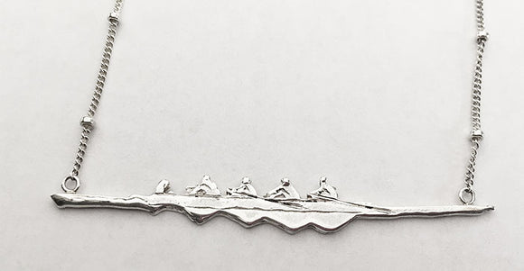 Four Oar Rowing Boat with Coxswain Buoy Chain Necklace Sterling Silver, by Rubini Jewelers