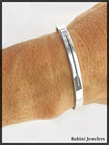 Sterling Silver Oar Engraved Cuff Bracelet with Wire Wrapped Ends by Rubini Jewelers
