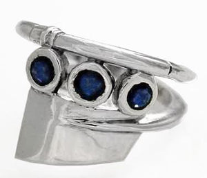Oar Wrap Ring with Three 4mm Sapphires by Rubini Jewelers