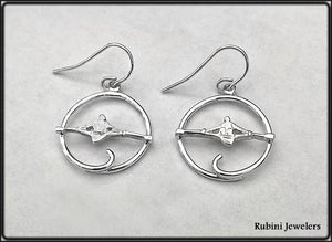 SS Open Circle with Sculler Dangle on French Wire Earrings by Rubini Jewelers