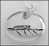 Oval Engraved with Abstract Eight Oared Boat Artwork #1 Pendant by Rubini Jewelers