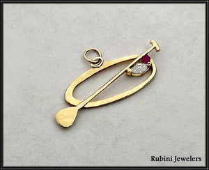 14Kt SUP, Paddle Board Outline Pendant with Marquise Diamond and Ruby by Rubini Jewelers