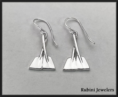 Overlapping Half Hatchet Oars Dangle Rowing Earrings by Rubini Jewelers