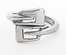 Overlapping Rowing Hatchet Blade Outlines Ring Sterling Silver by Rubini Jewelers