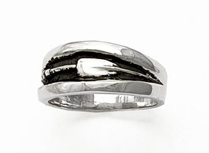 Oxidized Band with Tulip Oar Rowing Ring by Rubini Jewelers