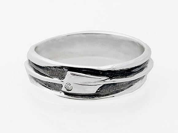 Oxidized Oar Band with Diamond Rowing Ring by Rubini Jewelers