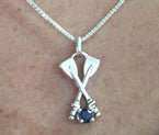 Sterling Silver Medium Crossed Oars & Sapphire Pendant