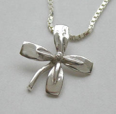 Four Rowing Tulip Blades Flower Pendant Sterling Silver, by Rubini Jewelers