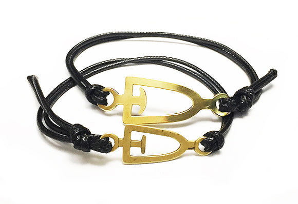 Dragon Boat, Canoe, SUP Paddle Outline Brass and Nylon Cord Bracelet by Rubini Jewelers