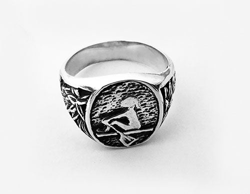 Pastoral Design Signet Ring with Female Rower by Rubini Jewelers
