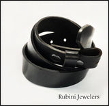 Full Grain Black Leather Belt Plain from Rubini Jewelers