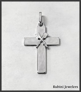 Petite Crossed Oars on Flat Cross Rowing Pendant Sterling Silver by Rubini Jewelers