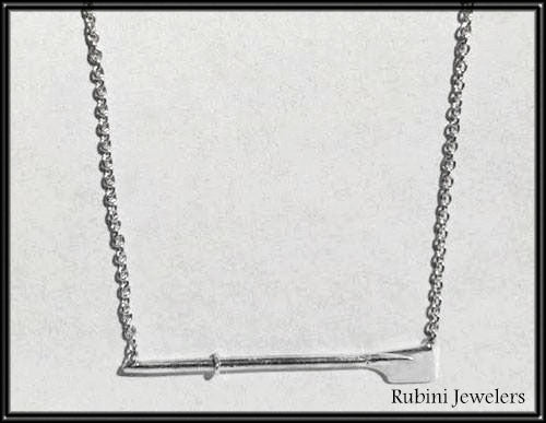 Petite Horizontal Hatchet Oar Rowing Necklace by Rubini Jewelers