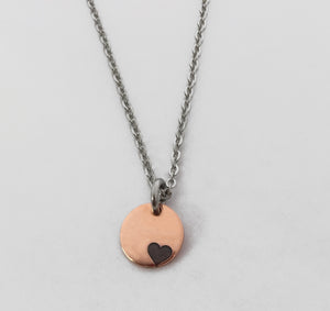 Petite 'I Love Me' Copper & Stainless Steel Necklace by Rubini Jewelers