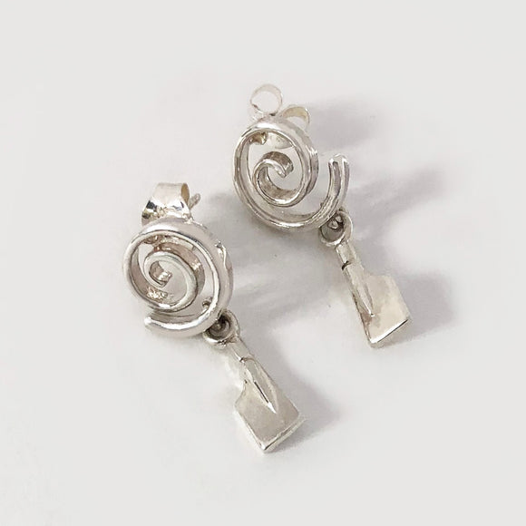 Petite Rowing Blades Swirl Post Earrings by Rubini Jewelers