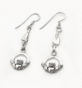 Petite Rowing Blades with Claddagh on French Wire Earrings by Rubini Jewelers