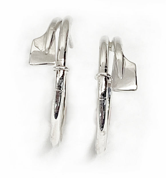 Petite Rowing Hatchet Oars Hoop Earrings