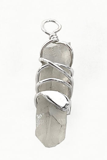 Quartz Crystal with Silver SUP, Canoe, Kayak Paddle Wrap Pendant by Rubini Jewelers