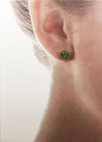 14Kt Gold Cabochon Green Quartz Gemstone Post Earrings