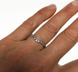 14Kt White Gold Diamond and Sapphire Thin Curved Band
