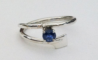 Petite Oar Wrap Rowing Ring with Genuine Sapphire by Rubini Jewelers