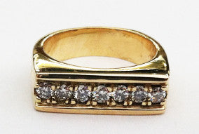 14kt Yellow Gold Angular Top Diamond Ring by Rubini Jewelers