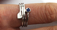 Triple Wrap Hatchet Oar Ring with Genuine Sapphire