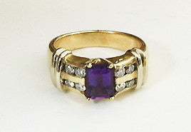 Positively Purple Power Ring 14Kt Gold Diamonds & Amethyst