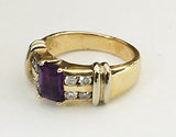 14k Two Toned Ring with Amethyst and Diamonds