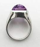 Sterling Silver Ring with Checkerboard Amethyst