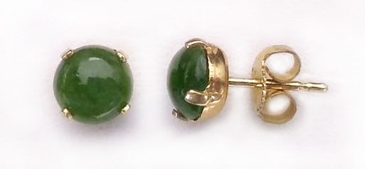 Round Green Quartz Gold Posts Earrings at Rubini Jewelers