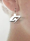 Abstract Rower Wire Earrings Sterling Silver, by Rubini Jewelers