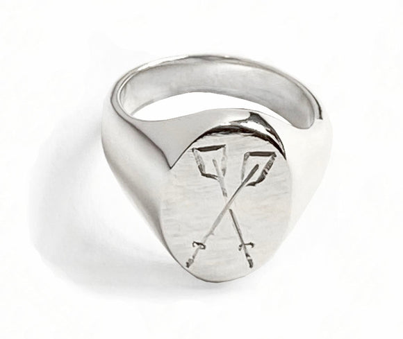 Crossed Oars Hand Engraved Oval Rowing Signet Ring by Rubini Jewelers