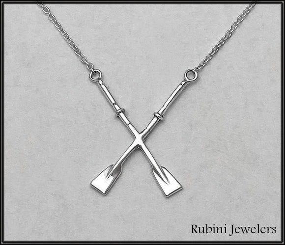 Crossed Hatchet Oars on Cable Chain Rowing Necklace by Rubini Jewelers