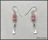 Petite Rowing Hatchet Dangle Earrings with Pink Indian Opals by Rubini Jewelers