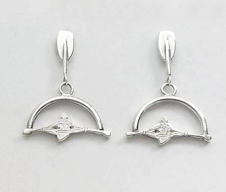 Rowing Tulip Post with Sculler in Open Half Moon Dangle Earrings By Rubini Jewelers