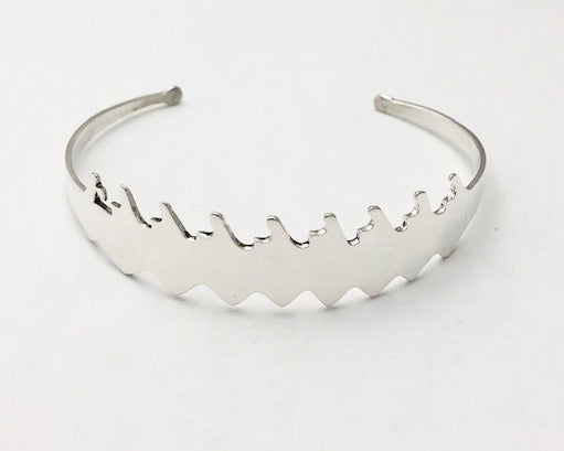 Cuff Bracelet: Sterling silver abstract 8+ by Rubini Jewelers