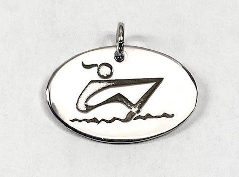 Abstract Rower Laser Engraved on Polished Oval Disc by Rubini Jewelers