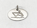 Abstract Rower Laser Engraved on Brushed Oval Disc by Rubini Jewelers
