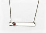 Silver Bar with 4mm Garnet  Necklace