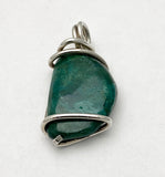 Handmade Chrysocolla Wire Wrapped Pendant by Rubini Jewelers