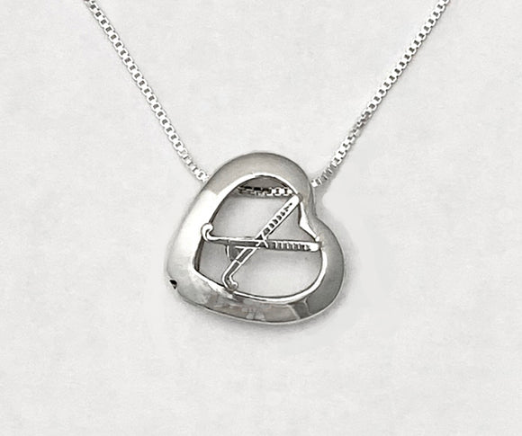 Heart w/ Crossed Field Hockey Sticks Necklace  by Rubini Jewelers