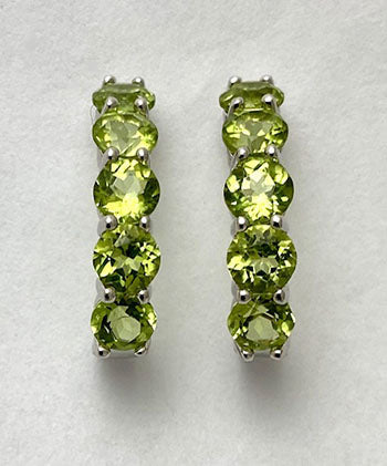 Genuine Green Peridot J-Hoop Post Earrings at Rubini Jewelers
