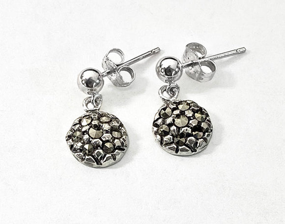 Silver Round Dangle with Marcasites Ball Post Earrings by Rubini Jewelers