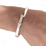 Solid Heavy Hook and Eye Bangle Bracelet at Rubini Jewelers