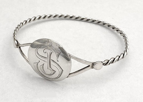 Twist Wire Bangle with Engraved Disc at Rubini Jewelers