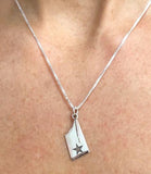 Medium Rowing Blade Charm or Pendant Engraved with a Star by Rubini Jewelers
